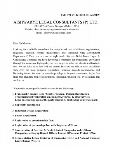 AISHWARYE LEGAL CONSULTANTS PRIVATE LIMITED